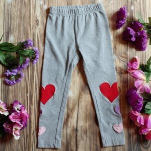 Girls size 4 heart patch lounge pants gray red